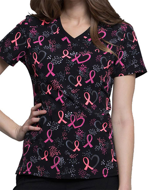 Cherokee Infinity Breast Cancer Awareness Women's You Dot The Love Mock Wrap Top