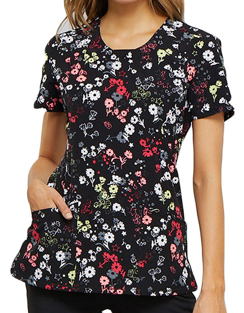Cherokee Women's Blossoms For Days Printed Round Neck Top