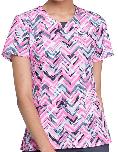 Cherokee Women's Simply Chevron Printed Round Neck Top