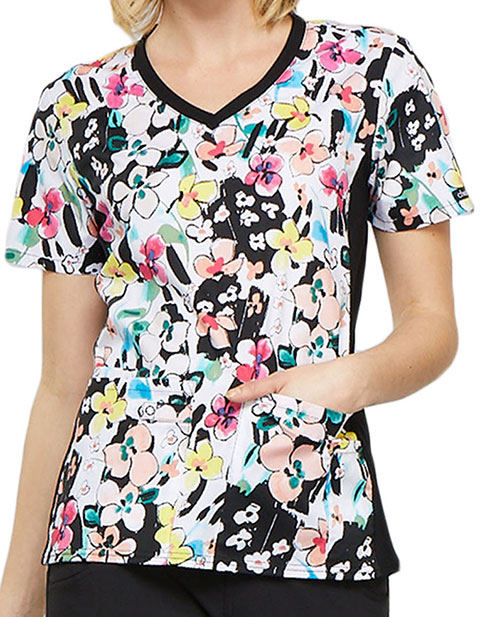 Cherokee Women's Brilliant Bouquet Printed V-Neck Knit Panel Top