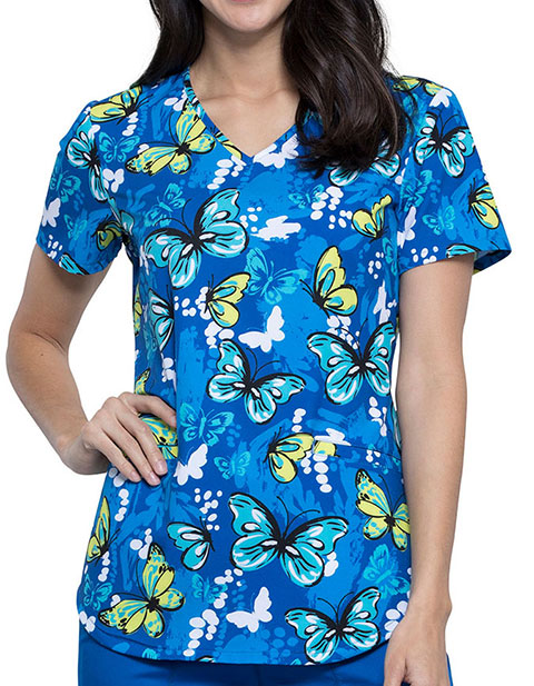 Cherokee Women's Flutterly Amazing Prints V-Neck Scrub Top