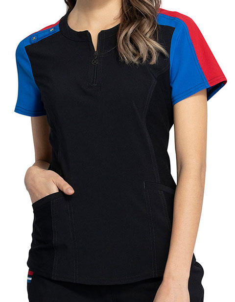 Cherokee Katie Duke iFlex Zip Neck Top