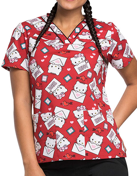 Tooniforms Women's Hello Kitty Letters Print V-Neck Scrub Top