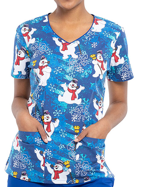 Cherokee Tooniforms Women's Chill Out Print V-Neck Top