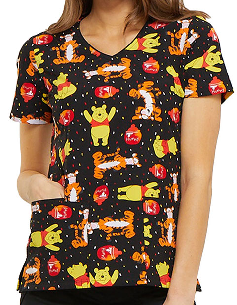 Tooniforms Disney Women's Bear Likes Honey Printed V-neck Top
