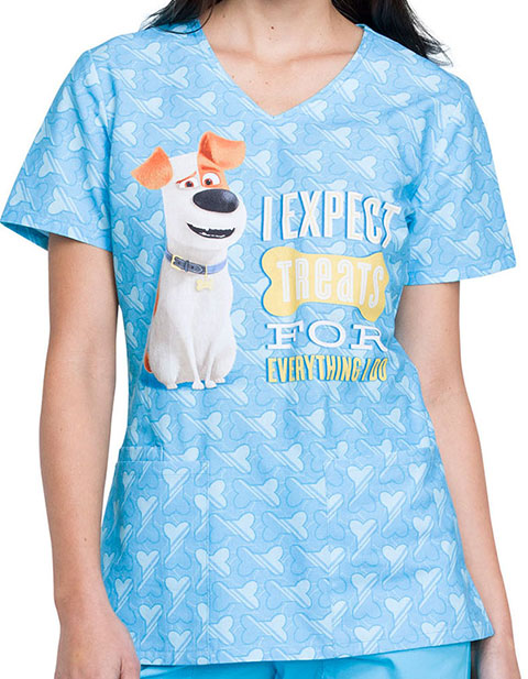 Tooniforms Women's Expect Treats Printed V-neck Top