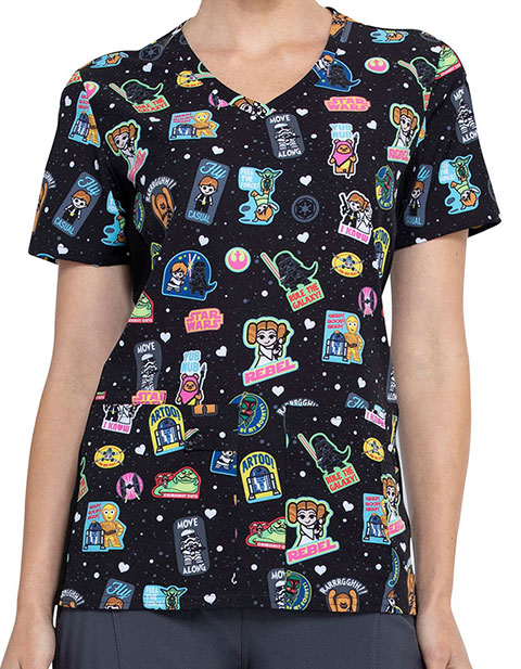 Tooniforms Women's Rule The Galaxy Print V-Neck Knit Panel Top