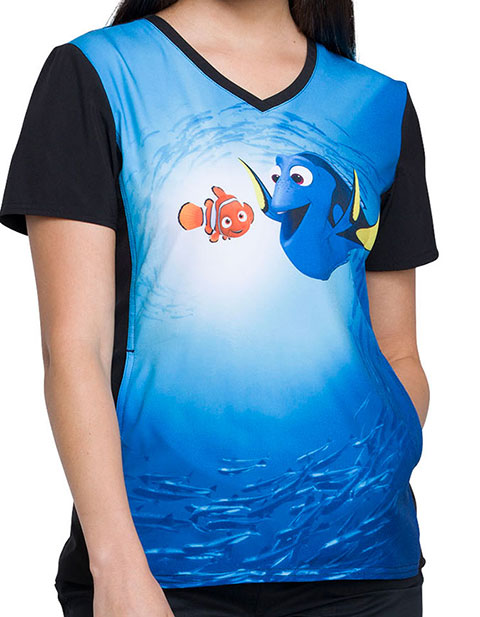 Tooniforms Women's Dory And Nemo Printed V-neck Top