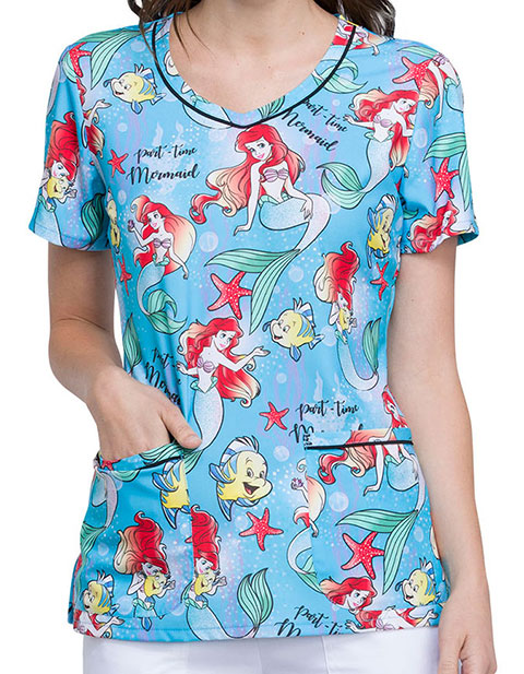Tooniforms Women's Part-time Mermaid Printed V-Neck Scrub Top
