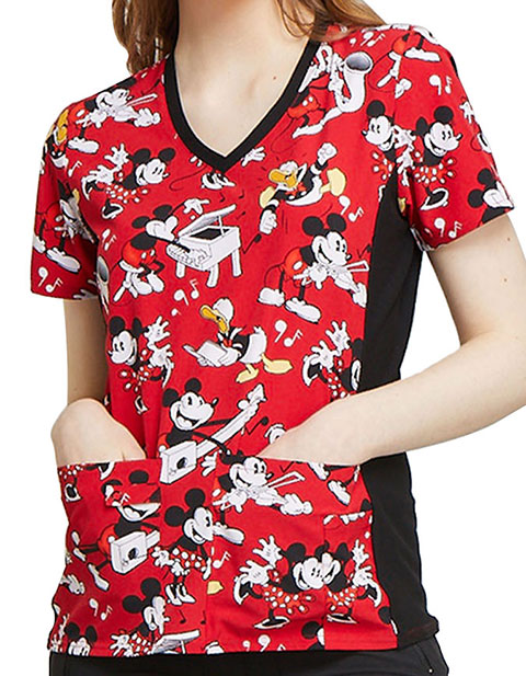 Tooniforms Women's Heritage Mickey Printed V-Neck Knit Panel Top