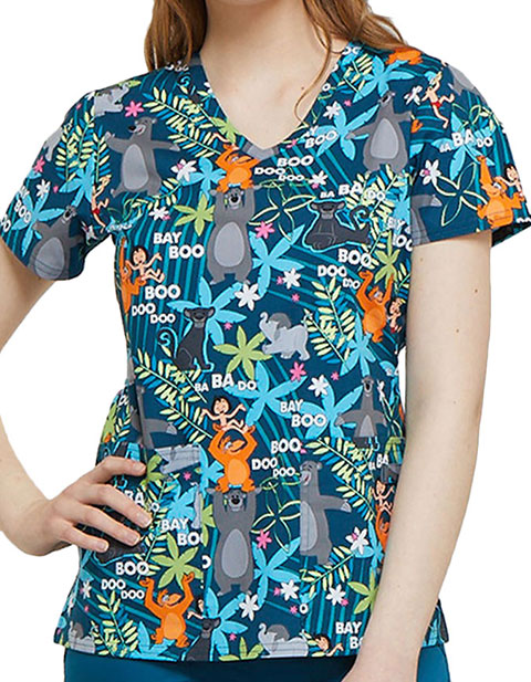 Tooniforms Disney Women's Jungle Jazz Printed V-Neck Top