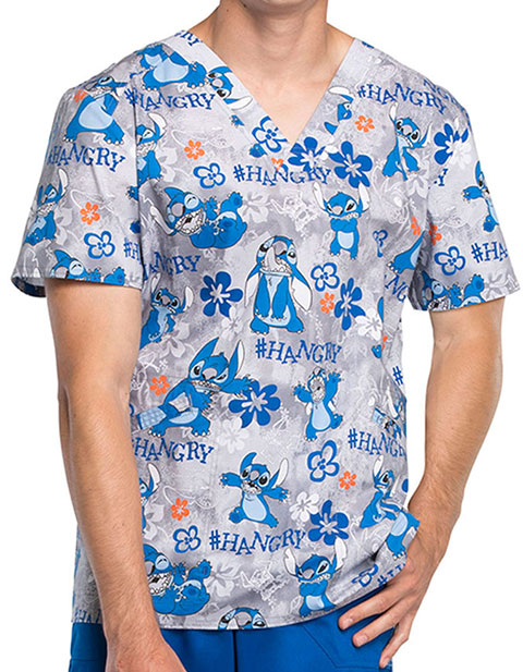 Tooniforms Men's Lilo and Stitch Print V-Neck Top