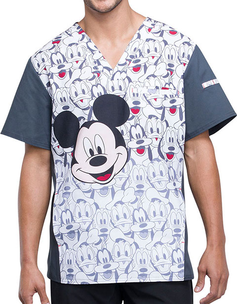 Tooniforms Men's Mickey and Friends Printed V-Neck Top