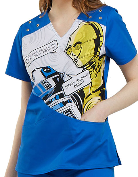 Tooniforms Women's Artoo Printed V-Neck Top