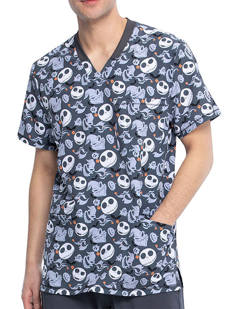 Tooniforms Men's Boogie With Jack Halloween Print V-Neck Top