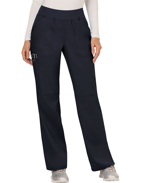 Cherokee Workwear Revolution Womens Mid Rise Straight Leg Pull-on Petite Pant