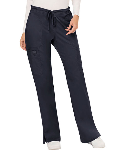 Cherokee Workwear Revolution Womens Mid Rise Moderate Flare Drawstring Tall Pant