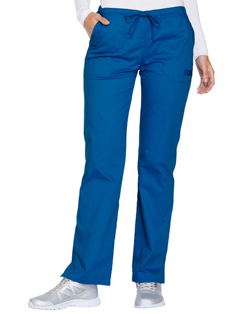Cherokee Workwear Core Stretch Women's Mid Rise Straight Leg Drawstring Petite Pant