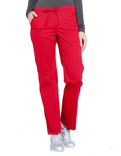 Cherokee Workwear Professionals Women's Drawstring Mid Rise Straight Leg Tall Pant