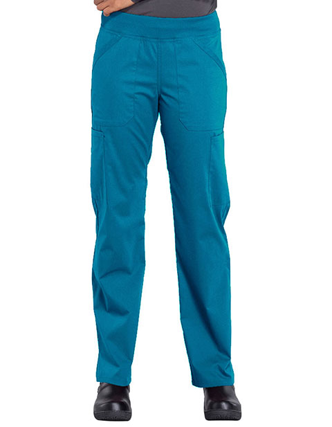 Cherokee Workwear Professionals Women's Elastic Waist Mid Rise Straight Leg Pull-on Cargo Petite Pant