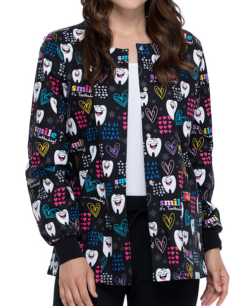 Dickies Smile It's Toothsday Printed Warm-Up Jacket For Women's