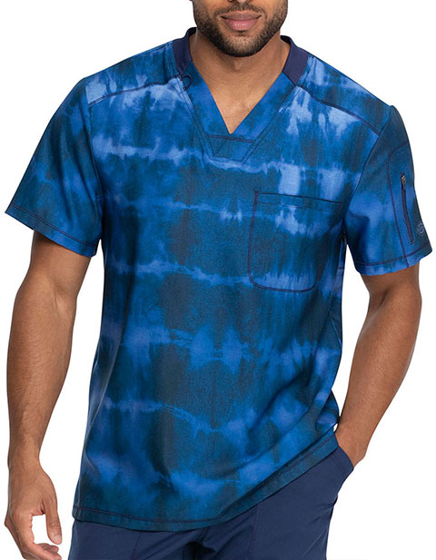 Dickies Men's Tie Dye Stripes Pewter Print V-Neck Top