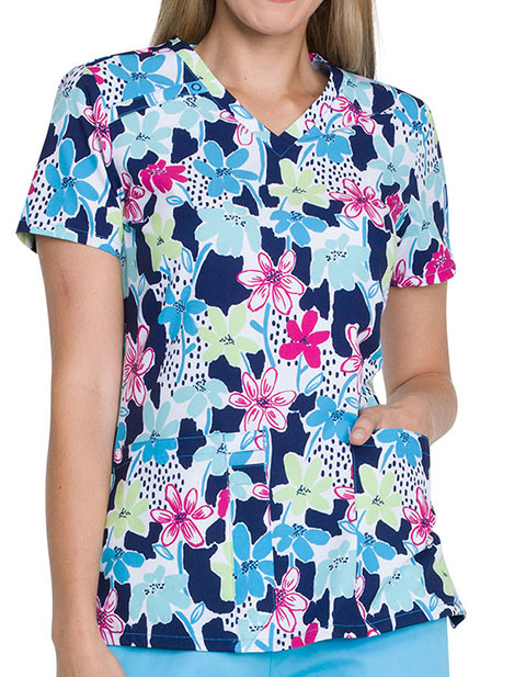 Dickies Women's Finger Paint Floral Print V-neck Scrub Top