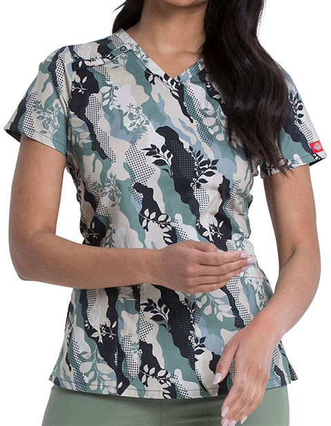 Dickies Nature Camo Prints V-Neck Top For Women's