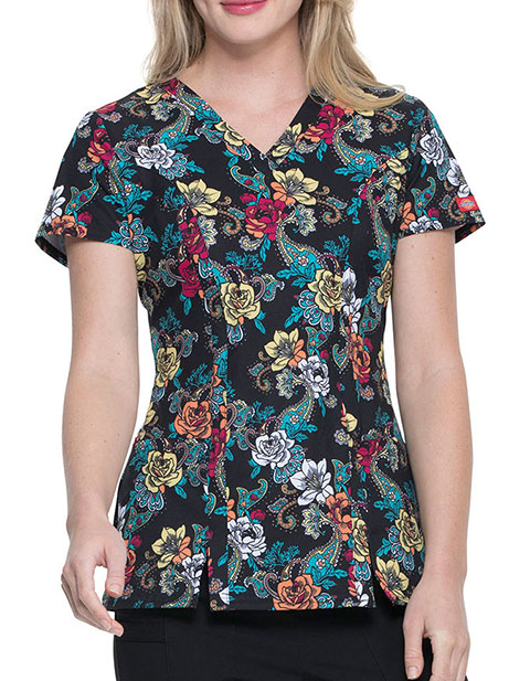 Dickies Women's WIRE Wild Rose Prints V-Neck Top