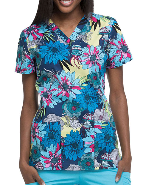 Dickies EDS Women's Aquatic Garden V-Neck Top