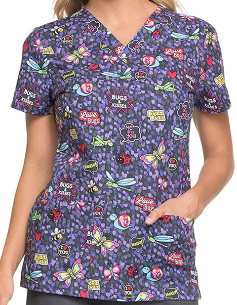 Dickies Women's Hello Love Bugs Printed V-Neck Top