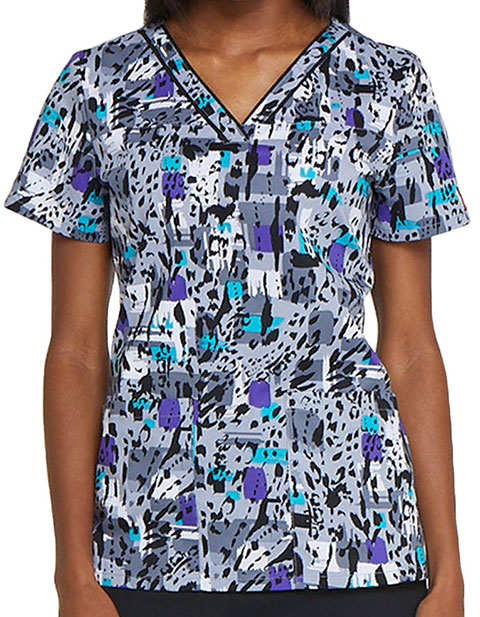 Dickies EDS Women's Purr-fect Strokes Printed V-Neck Top