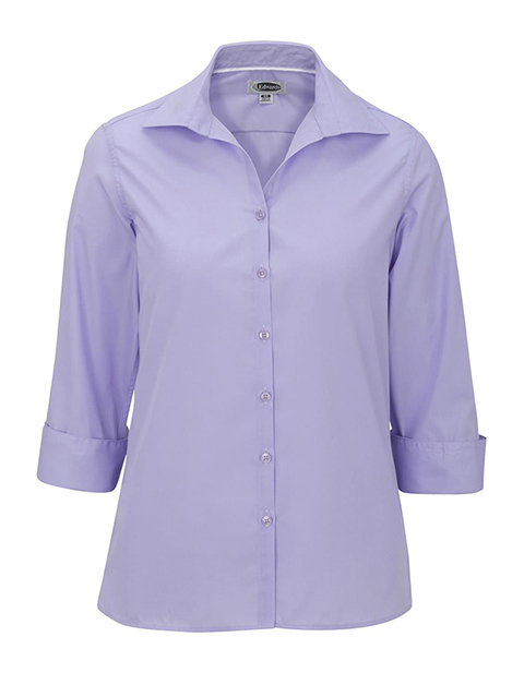 Women's Open Neck Poplin 3/4 Sleeve Blouse