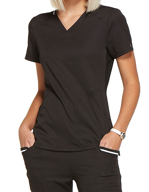 ELLE Women's Solid V-neck Top
