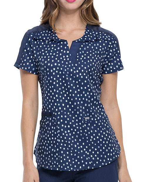 Elle Women's Dot's So Chic Prints Ruffle Yoke Top
