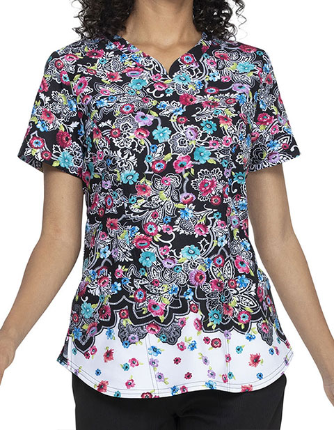 Elle Women's Decorative Daisies Prints Shaped V-Neck Top
