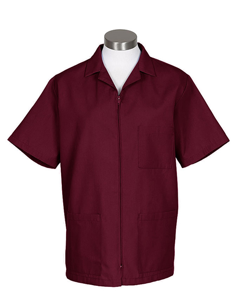 Fame Fabrics Zip-Front Smock with Short Sleeves