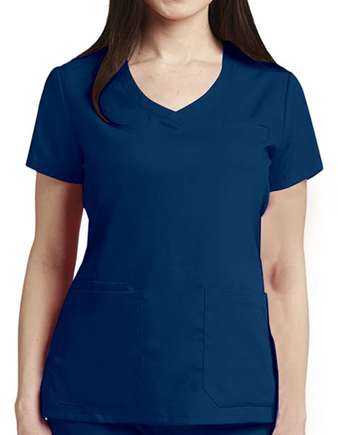 Grey's Anatomy Women's V-neck Multi Pockets Fashion Top