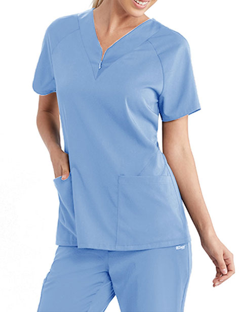 Grey's Anatomy Spandex Stretch Women's Zip Detail Scrub Top