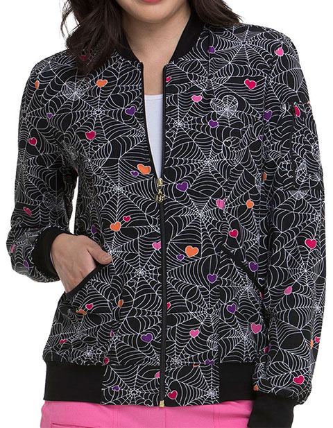 HeartSoul Womens Zip Front Wicked Cute Printed Bomber Jacket