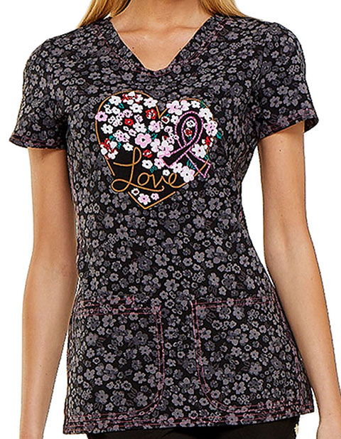 HeartSoul Womens V-Neck Floral Ever In My Heart Scrub Top