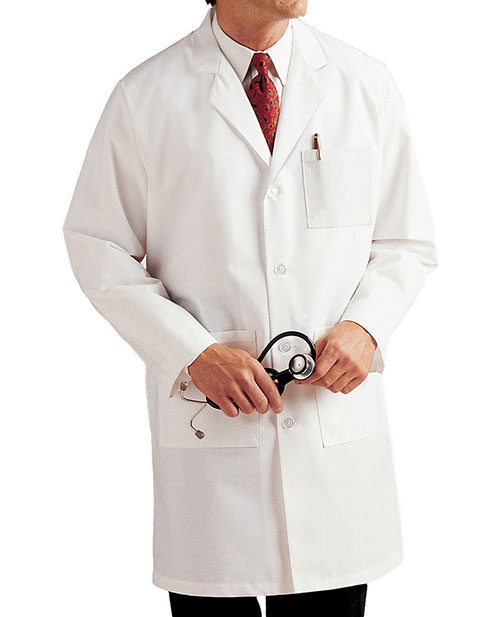 Landau Mens Three Pocket Full Length Medical Lab Coat