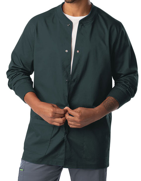 Landau Proflex Men's Knit Collar Snap Front Solid Scrub Jacket
