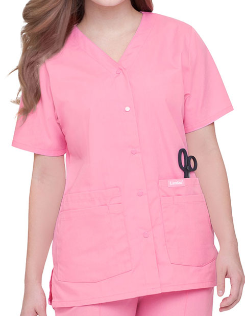 Landau Womens V-Neck Snap Front Solid Nurse Scrub Top