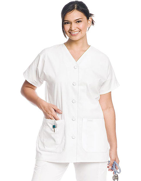 Landau Women Three Pocket V-Neck Button Front Scrub Top