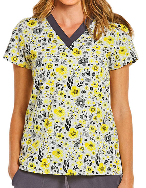 Maevn Prints Women's V-Neck Field Of Flowers Print Scrub Top