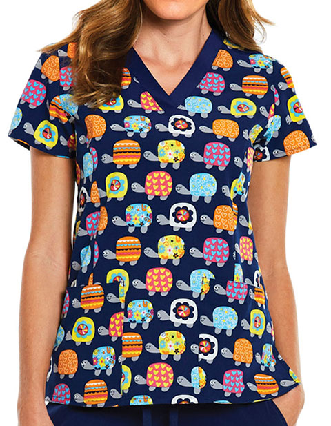 Maevn Prints Women's Turtle Print V-neck Scrub Top