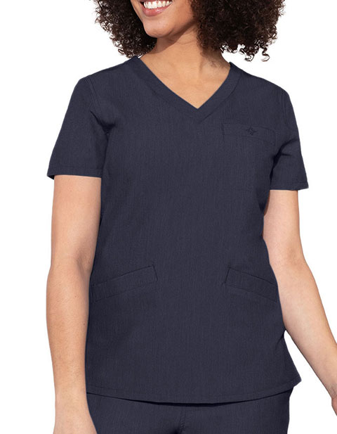 Med Couture Touch Women's V-Neck 3 Pocket Scrub Top