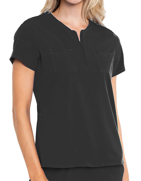 Med Couture Peaches Women's Zip Neck Solid Scrub Top