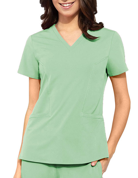 Med Couture Peaches Women's Double V-Neck Scrub Top